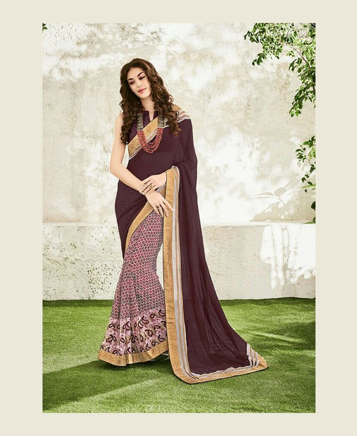 Brown Georgette Printed Saree 78837