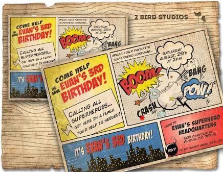 comic strip birthday invitations - Google Search