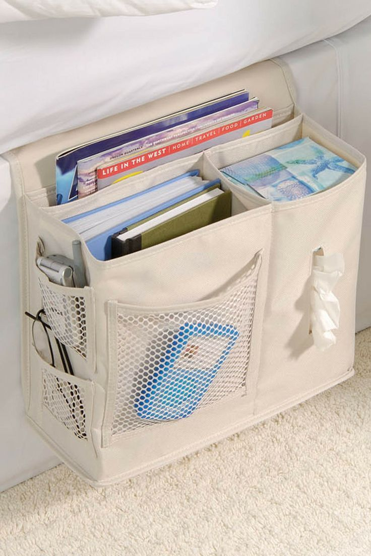 Bedside Caddy // better than a nightstand, with pockets for glasses, a box of tissues, magazines, books, phone etc. #product_design