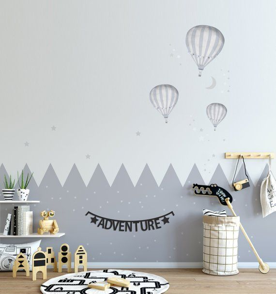 Hot Air Balloons X3 Wall Stickers Moon Stars Heather Grey