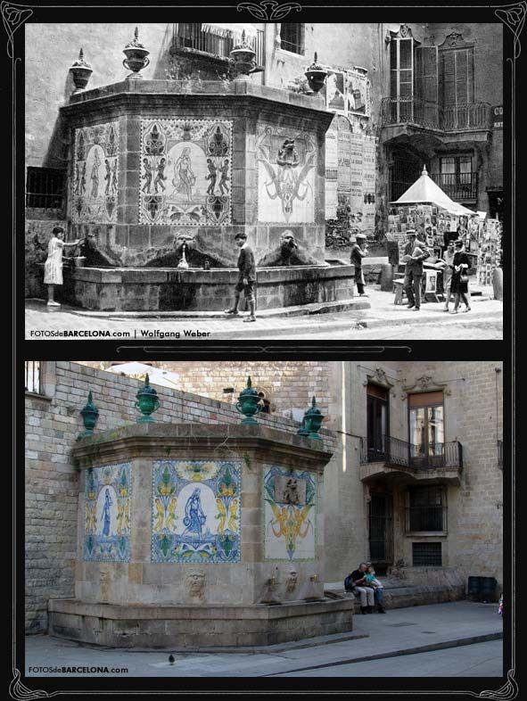 Fuente de Santa Anna  Foto antigua: c.1925 / Foto actual: 2007 Fuente gótica octogonal construida en 1356.   El aspecto actual es producto de las diferentes reformas que se le han hecho durante el siglo XX, sobretodo de las decoraciones de cerámica que en el año 1918 le hizo el pintor y ceramista Josep Aragay Blanchart.