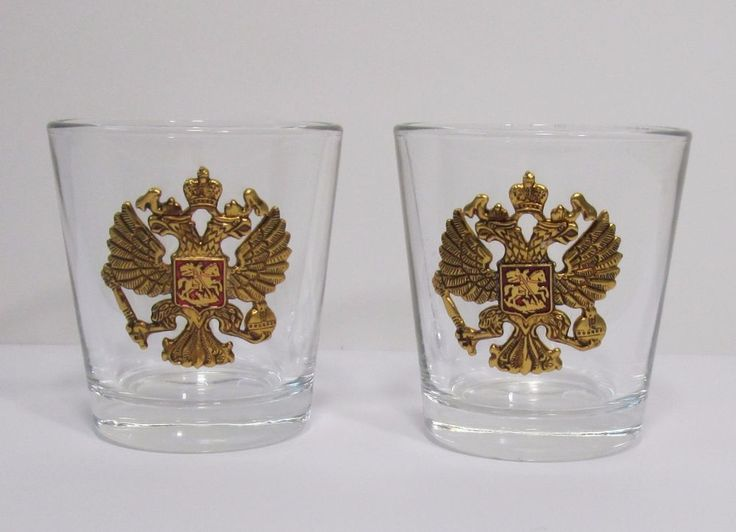 a glass 2 pieces of 50 milligrams,stack glass,double-headed eagle souvenir metal