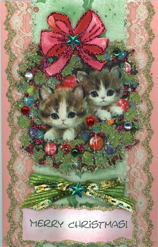 Beautiful Vintage Glitter Christmas Cats Merry Christmas