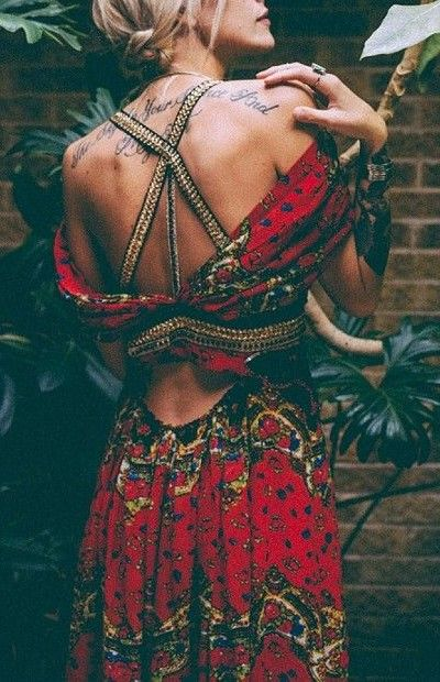 Red criss cross back gypsy embellished boho chic dress. For the BEST Bohemian fashion trends of 2015 FOLLOW > https://www.pinterest.com/happygolicky/the-best-boho-chic-fashion-bohemian-jewelry-gypsy-/ < now