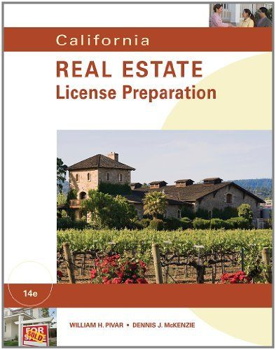 California Real Estate License Preparation by William H. Pivar. $35.06. Series - California Real Estate License Preparation. Publication: March 28, 2012. Publisher: South-Western Educational Pub; 14 edition (March 28, 2012). Save 35% Off!