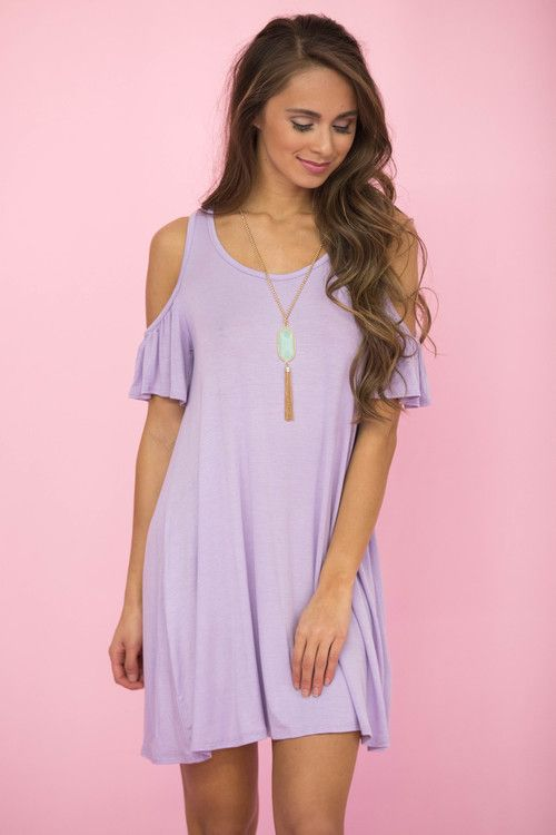 Say My Name Cold Shoulder Dress Lilac - The Pink Lily