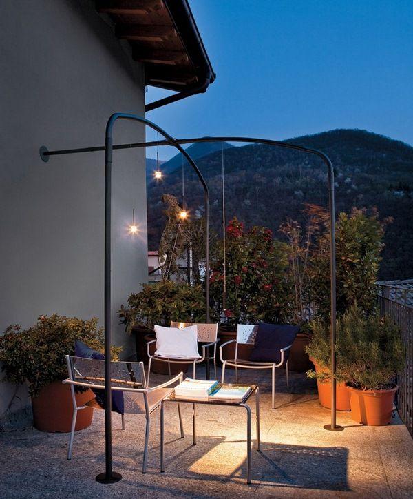 LED Garden Outdoor Lighting Album Pergola Terrace Lounge Black