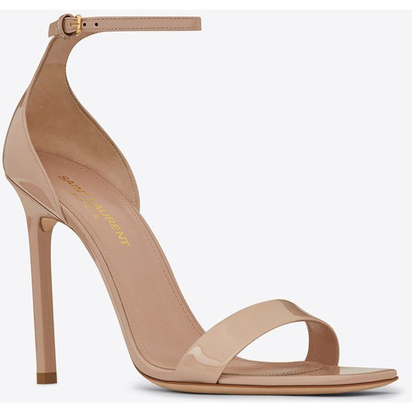 Saint Laurent Amber ankle strap 105 sandal in shell patent leather (€495) ❤ liked on Polyvore featuring shoes, sandals, heels, heeled sandals, patent leather shoes, yves saint laurent, yves saint laurent sandals and patent leather sandals