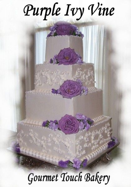 Purple Wedding Cakes - Square with accent scrolls and roses