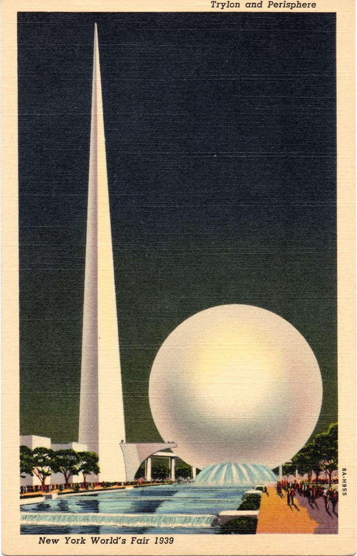 "1939 NEW YORK WORLD'S FAIR TRYLON AND PERISPHERE. To the left rises the lofty shaft of the ""Trylon"" on the pinnacle of which, 700 feet above the ground, a powerful beacon will shine forth. A bridge links it to the 200-foot ""Perisphere"" in which the Theme of the Exposition will be depicted. Swinging down the ""Helicline"" or curved exit rampr are the flags and gay costumes of one of the pageants which will signalize special Fair days. (Curt Teich 8A-H955)"
