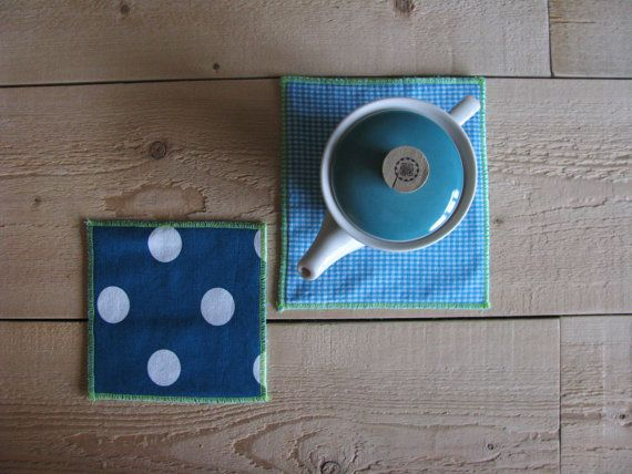 fabric teal mug rug - teal polkadot and gingham trivets - set of 2x - hostess gift - shabby home decor - tea time washable mug rug