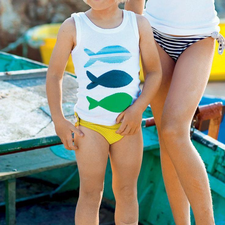 Débardeur appliqué de poissons en tissu bleu ou vert pour enfant