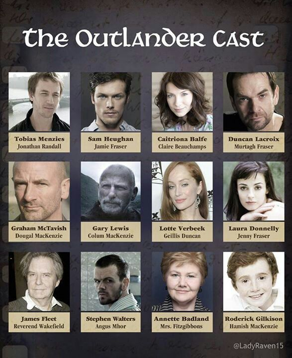 The Outlander cast so far - the first book was excellent! Super excited that they're making a mini-series out of this series!