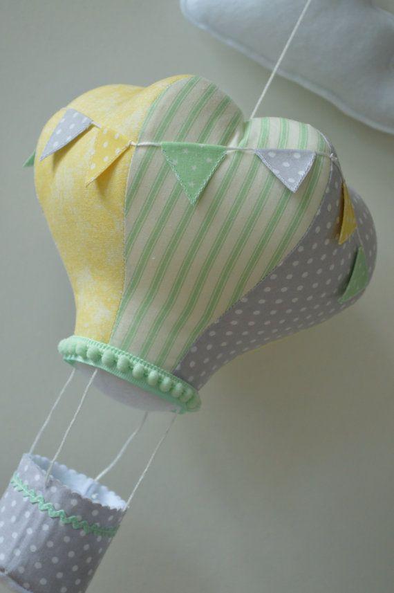 Hot Air Balloon Mint Grey Lemon By Lovelottietextiles