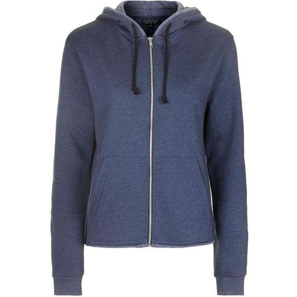 TOPSHOP Frayed Hem Zip Up Hoodie (€34) ❤ liked on Polyvore featuring tops, hoodies, jackets, outerwear, sweatshirt, navy blue, sweatshirts hoodies, zipper hoodies, zipper hoodie and sweat shirts