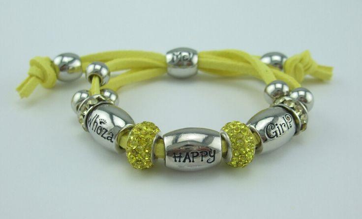 Whoza HAPPY Girl? Bright Yellow Shamballa Bracelet.