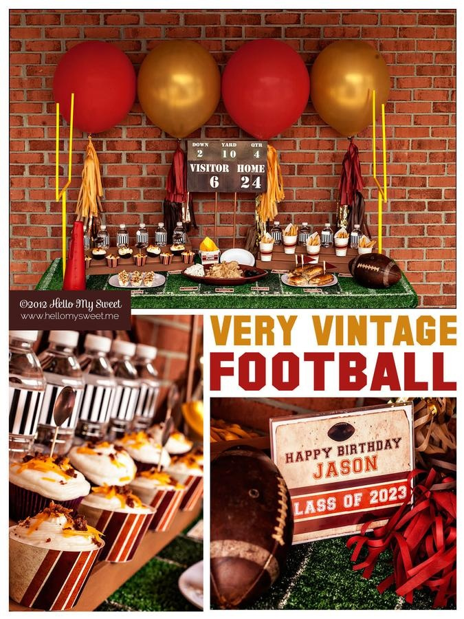 vintage football party - could we do the game sign with dates/numbers from his birth?