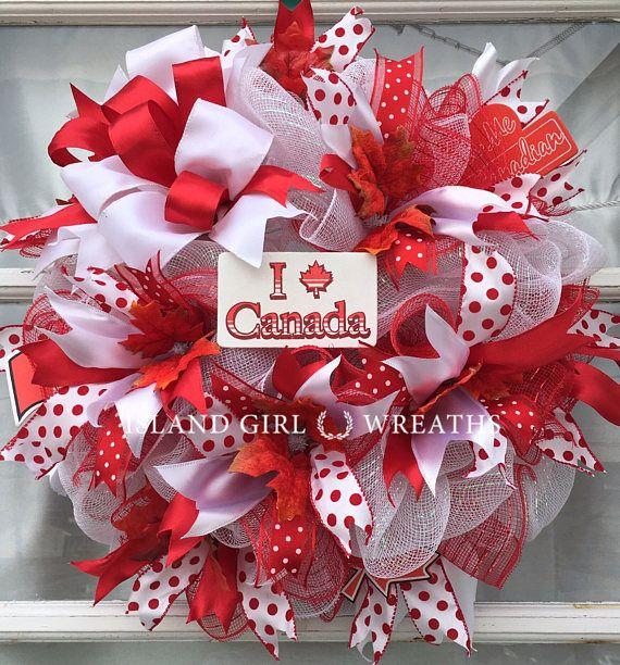 Canadian Day Wreath Deco Mesh Canadian Wreath Canadian