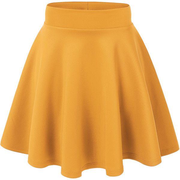 MBJ Womens Basic Versatile Strechy Flare Skater Skirt ($11) ❤ liked on Polyvore featuring skirts, skater skirt, flare skirt, yellow skater skirt, circle skirt and flared hem skirt