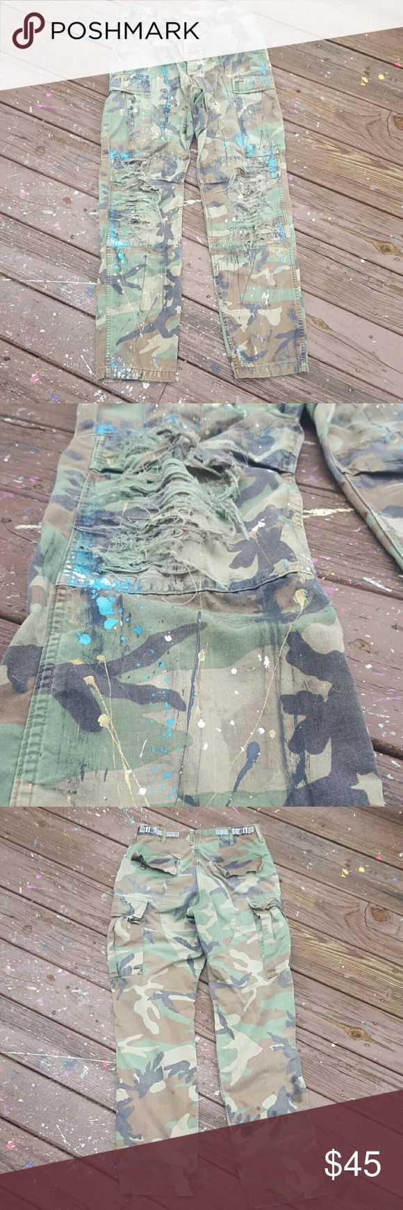 Custom Painted Ripped Camouflage Pants -Size: Small-Long -Women or Mens Pants -Condition: Used official Army Pants I Buy From The Miltary Surplus Store Pants
