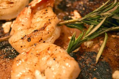 Grilled Shrimp with Rosemary Skewers on Himalayan Salt Block