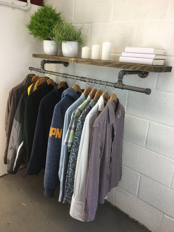 Handmade Industrial Coat Rail Urban Style Clothing Rack Etsy Clothes Rail With Shelves Laundry Room Diy Garment Racks