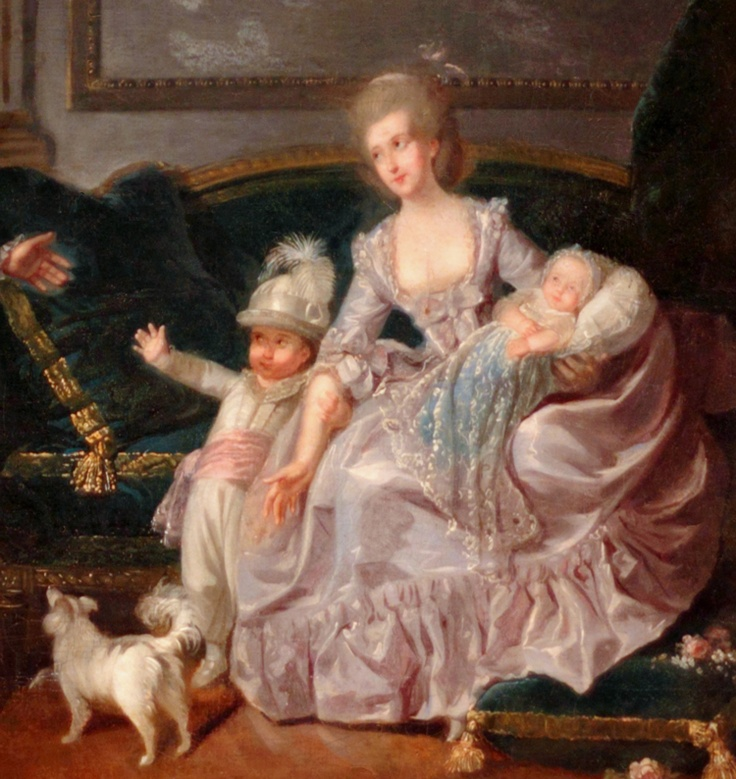 Detail from The future Philippe Égalité with his wife and sons at the Palais Royal, 1776, by Charles Lepeintre (1735–1803)