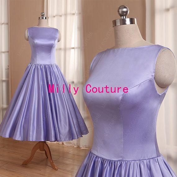 Modest bridesmaid dress lavender, 1950s bridesmaid dress, tea length vintage high neck bridesmaid dress, Audrey Hepburn bridesmaid dress