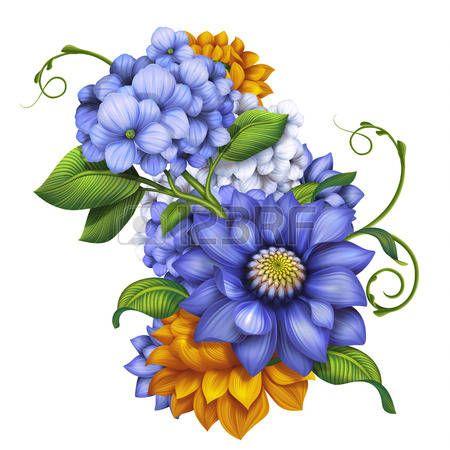 декоративные цветочные иллюстрации, осенние цветы и листья расположение photo