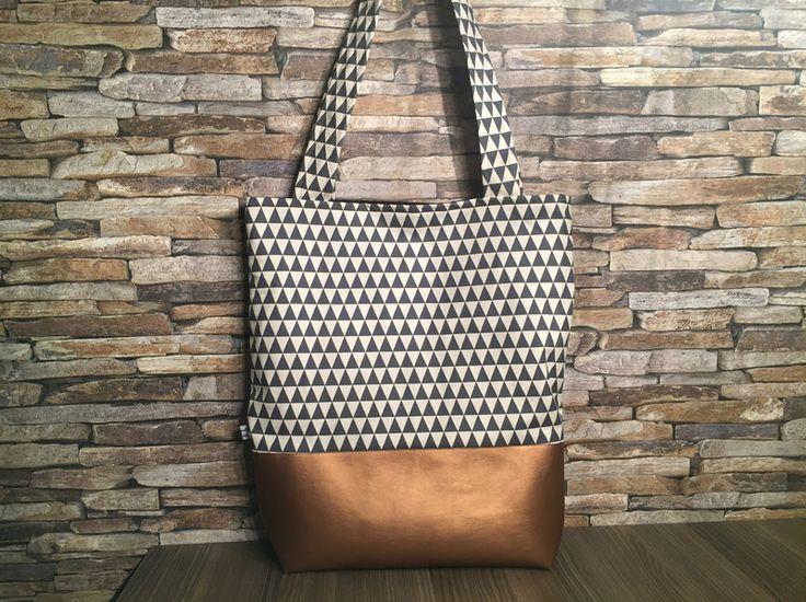 Tragetaschen - Shopper mit Muster und Kunstleder - ein Designerstück von Konfetti_im_Herzen bei DaWanda