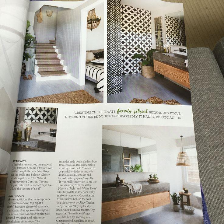 Sisal on stairs and beautiful bathroom tiles