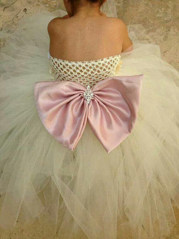 Flower girl dress with satin and crystal bow