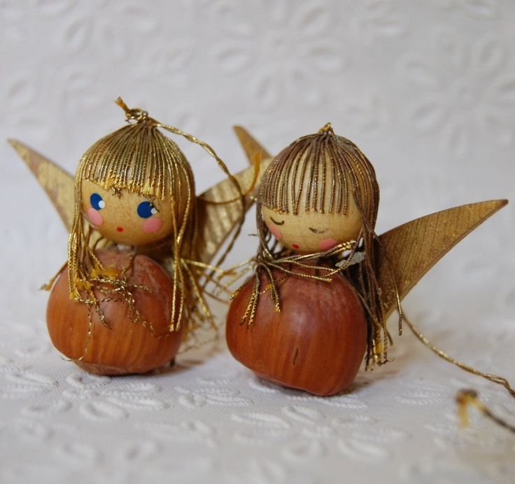 Two Vintage 1960s Italian Angels Christmas Ornaments Xmas