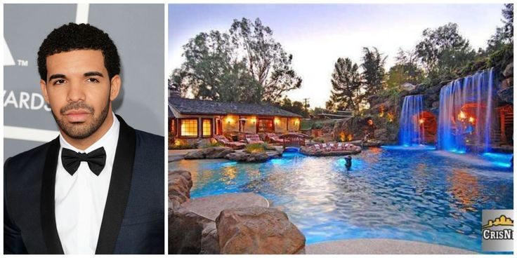 """The rapper-singer's $7.7 million home, which he's dubbed the """"YOLO Estate"""" (that's """"You Only Live Once,"""" for you non-Millennials), has a pretty intense backyard pool situation, which includes an 80-foot water slide,a grotto with flatscreen TVs and flaming iron torches.   - Veranda.com"""