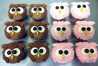 owl cupcakes to match jumbo cupcake