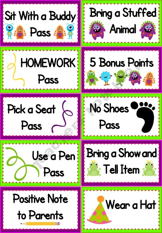 Behavior Coupons for positive behavior Materials: computer and paper