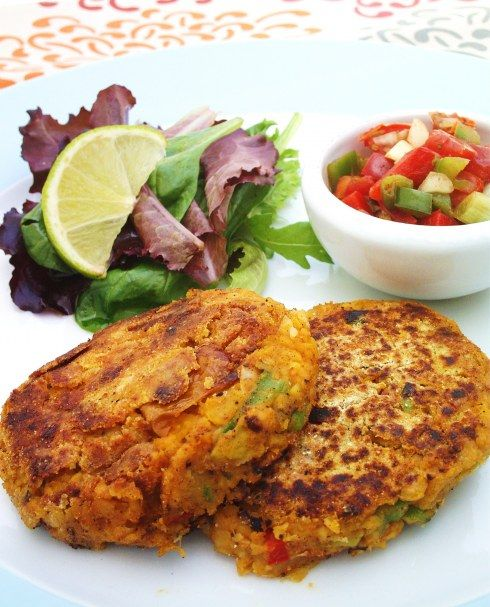 Creole Chickpea Fritters with red & green Pepper Salsa from cook eat live vegetarian blog