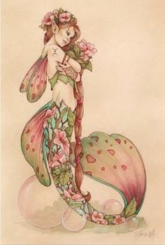 Floral Mermaid Tattoo Design