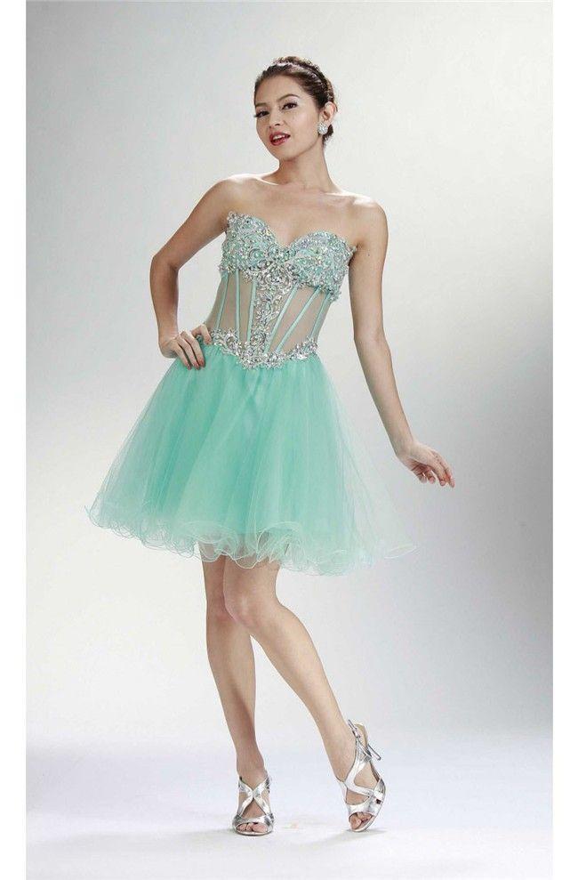 8 best Short Mint Green Prom Dresses images on Pinterest | Green ...