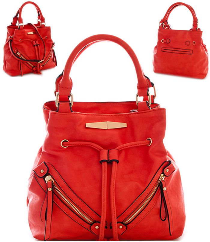 Handbag with Zipper Accents Red - Abfabulous Fashion