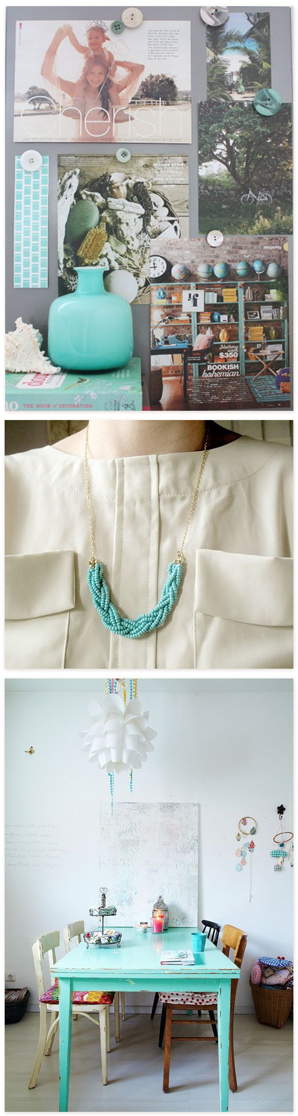 DIY Braided Bead Necklace by ECAB (via Nicole) | I want to make a stockpile of these in every color imaginable for Summertime wearing!