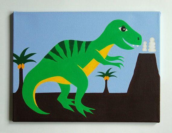 Dinosaur Boys Room Decor On Canvas
