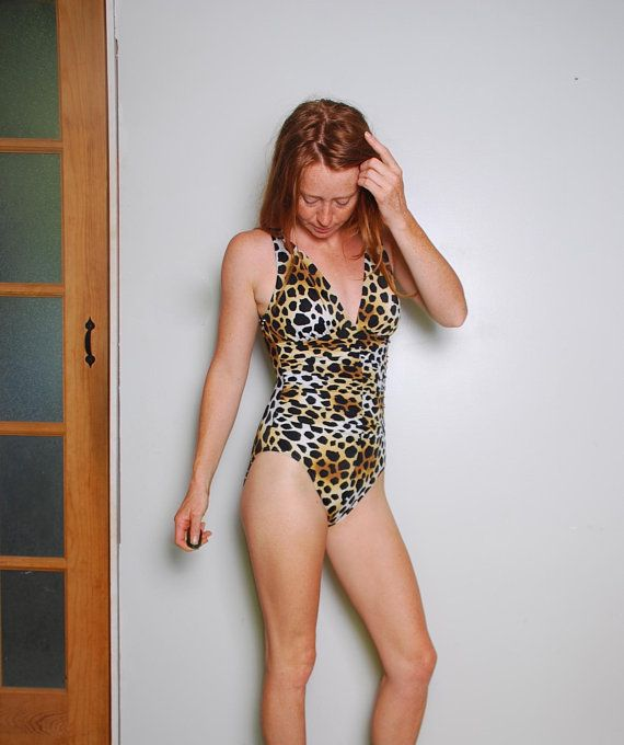 e303039fc006d 90s small leopard print one piece bathing suit cinched waist animal print  brown black betty paige sexy womens vintage clothing boho 80s