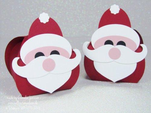 Nellis Stempeleien:  Zierschachtel für Andenken von Stampin' UP! als Nikolaus. Mit kleiner Anleitung.  Tutorial Santa Curvy Keepsake Box