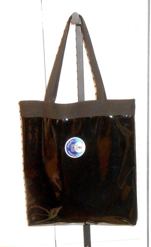 Ralph Luaren Polo Sport USA Black Patent Leather Vinyl Lined Tote Bag #RalphLaurenPoloSport #TotesShoppersBeach