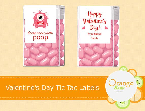 Love Monster Poop Valentine's Day Tic Tac Labels
