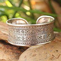 Sterling silver cuff bracelet, 'Karen Tribe Imprint' by NOVICA