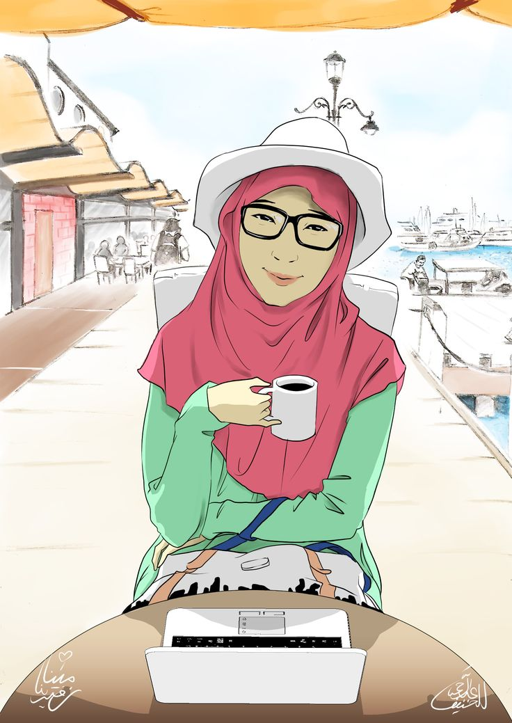 Casual hijab outfit illustration by Abdurrahman Al Hanif a.k.a @zenvuitton - for my Mina <3