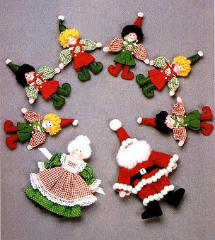 Retro: SANTA, MRS. CLAUS & ELF DOLLS similar to ones on our tree in 60's/70's.  You have to enlarge the pattern from a grid.