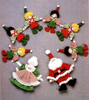ARTE COM QUIANE - Paps,Moldes,E.V.A,Feltro,Costuras,Fofuchas 3D: Papai Noel e Mamãe Noel feito de tecido